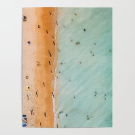 People On Algarve Beach In Portugal, Drone Photography, Aerial Photo, Ocean Wall Art Print Poster