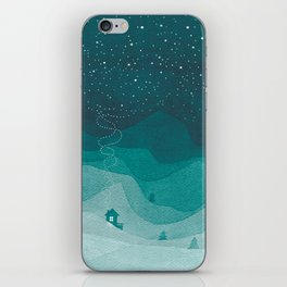 Stars factory, teal mountains house watercolor landscape iPhone Skin