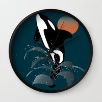 orca Wall Clocks featuring Orca by VanessaGF