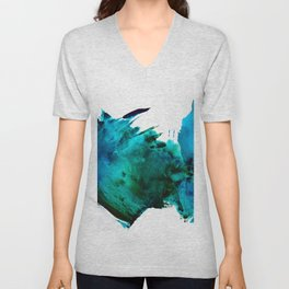Crashing Waves: a vibrant minimal abstract design in blue, green, and white by Alyssa Hamilton Art  Unisex V-Neck