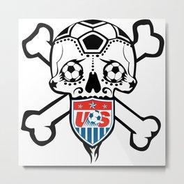 USA Soccer Team Sugar Skull themed logo. Metal Print