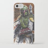 boba fett iPhone & iPod Cases featuring Boba Fett by KristinMillerArt