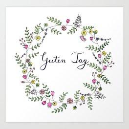 Guten Tag German Brush Script with whimsical wreath Art Print