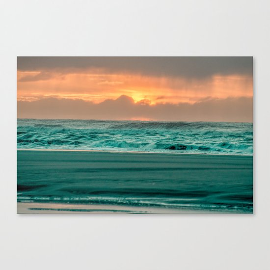 Turquoise Ocean Pink Sunset Canvas Print