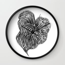 Midori Anthurium Pencil Drawing Black White Heart Wall Clock