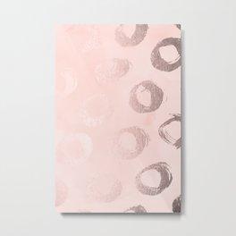Rose Gold Pastel Pink Dot Circles Metal Print