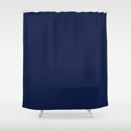 Navy Blue Minimalist Solid Color Block Shower Curtain