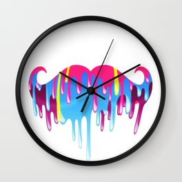 Neon Funny Mustache Melting Yellow Pink Blue Wall Clock