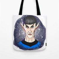 spock Tote Bags featuring Spock by Eriboo