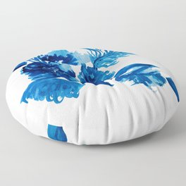 Blue watercolor flowers and stems Floor Pillow