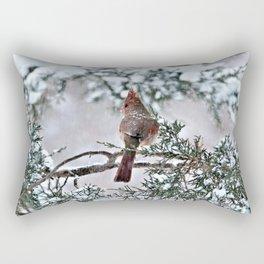 Snow on His Back (Northern Cardinal) Rectangular Pillow