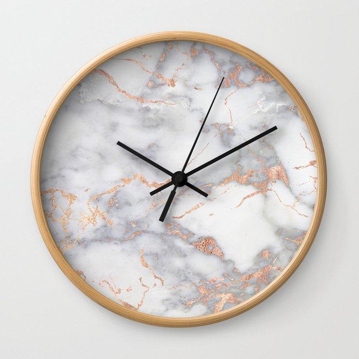 Gray Marble Rosegold  Glitter Pink Metallic Foil Style Wall Clock