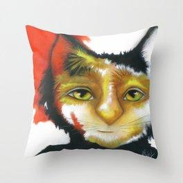 Cat abstract original painting Deb Harvey art Oppee  Throw Pillow