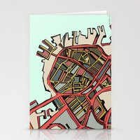 boston map Stationery Cards featuring Abstract Map- Boston North End by Carland Cartography