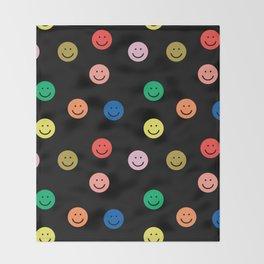 Smiley faces black happy simple rainbow colors pattern smile face kids nursery boys girls decor Throw Blanket