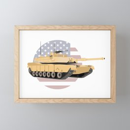 M1A1 Abrams Tank with American Flag Framed Mini Art Print