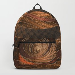 Earthen Brown Circular Fractal on a Woven Wicker Samurai Backpack