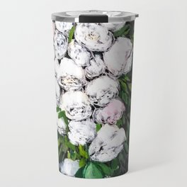 White flowers painting,Floral, bridal roses Travel Mug