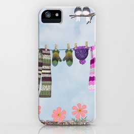 winter's over clothesline with juncos iPhone Case
