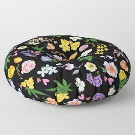Gypsy Flowers and Pot Leaves Floor Pillow
