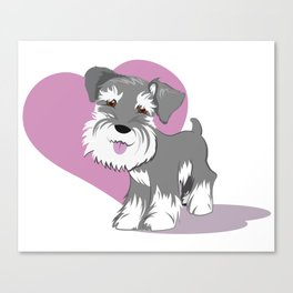 Miniature Schnauzer Puppy Dog Adorable Baby Love Canvas Print