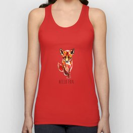 Cute Little Red Fox water colour ink Unisex Tank Top