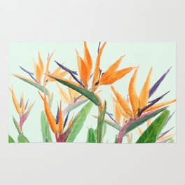 bird of paradise flower painting Rug