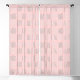 Teal textile lines on pink Blackout Curtain