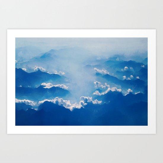 Blue mountains, white clouds Art Print