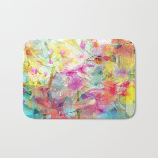 Colorful Painterly Spring Floral Abstract Bath Mat