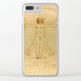 "Leonardo da Vinci ""The Vitruvian Man"" Clear iPhone Case"