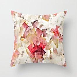 Geometric Stacks Pink Beige Throw Pillow