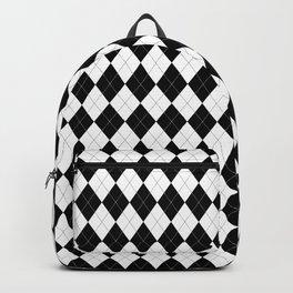 Black White Argyle Pattern Geometric Backpack