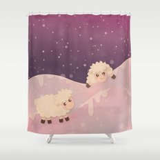 Baby Sheep in Snow Shower Curtain
