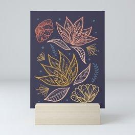 Bohemian Florals in Blue + Coral Mini Art Print