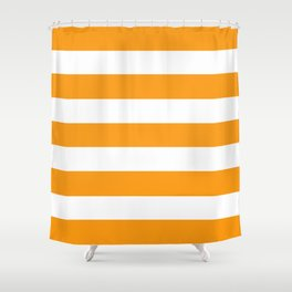 Kumquat - solid color - white stripes pattern Shower Curtain