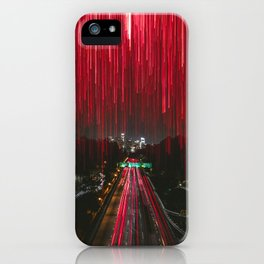 Lights and the LA Skyline at Night iPhone Case