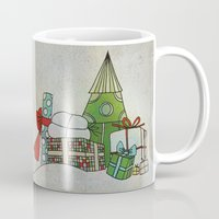 calendar Mugs featuring Advent Calendar - Day 24 by Päivi Hintsanen