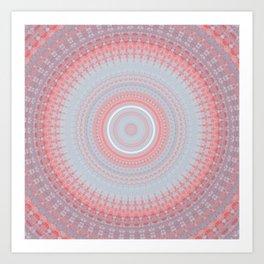 Delicate Baby Blue Pink Mandala Art Print