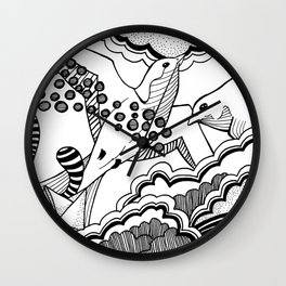 Swallows in the clouds Wall Clock