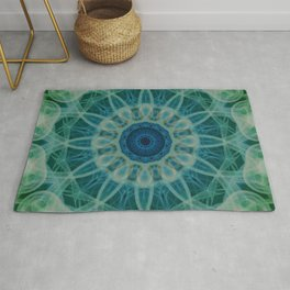 Detailed mandala in blue and green clours Rug