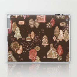 Hansel and Gretel Fairy Tale Gingerbread Pattern on Brown Laptop & iPad Skin