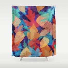 Colorful fallen leaves Shower Curtain