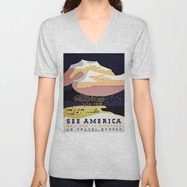 See America Montana travel ad Unisex V-Neck