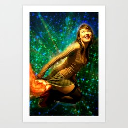 Galaxy Toot Girl | Sexy Pin Up Humor Art Print