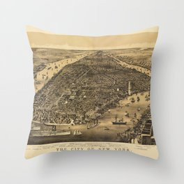 The City of New York by Currier & Ives (1889) Throw Pillow