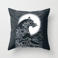 airbender Throw Pillows featuring Waterbending by Tobe Fonseca