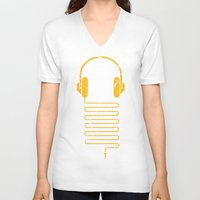 headphones V-neck T-shirts featuring Gold Headphones by Sitchko Igor