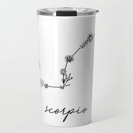 Scorpio Floral Zodiac Constellation Travel Mug