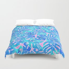 Blue watercolor monstera on pink background pattern Duvet Cover